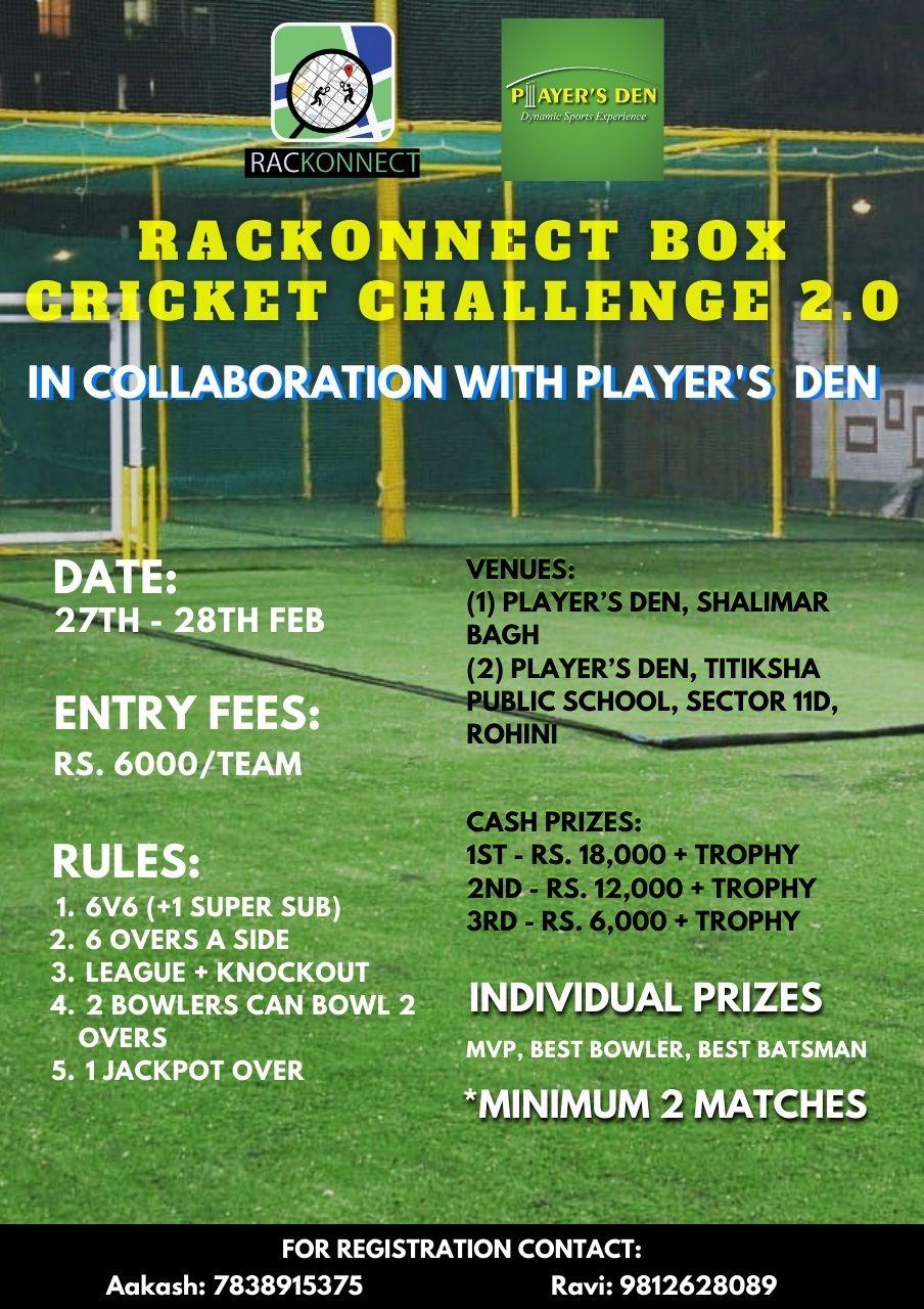 Rackonnect Box Cricket Challenge